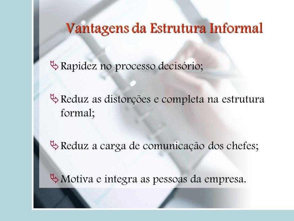 Vantagens da Estrutura Informal  Rapidez no processo decisório;  Reduz as distorções e completa na estrutura formal;  Reduz a carga de comunicação