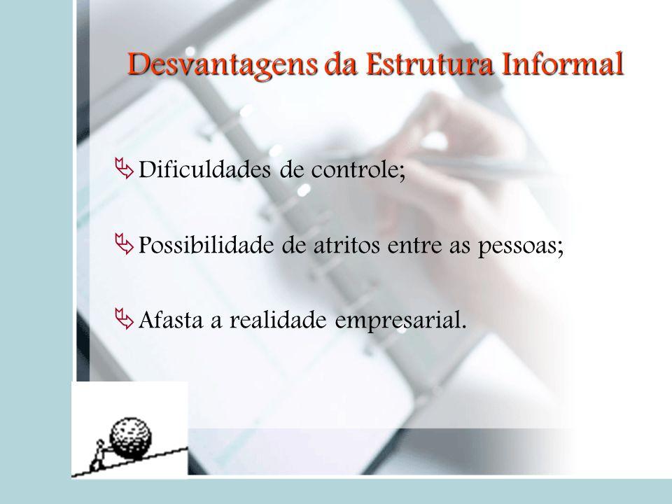 Desvantagens da Estrutura Informal  Dificuldades de controle;  Possibilidade de atritos entre as pessoas;  Afasta a realidade empresarial.