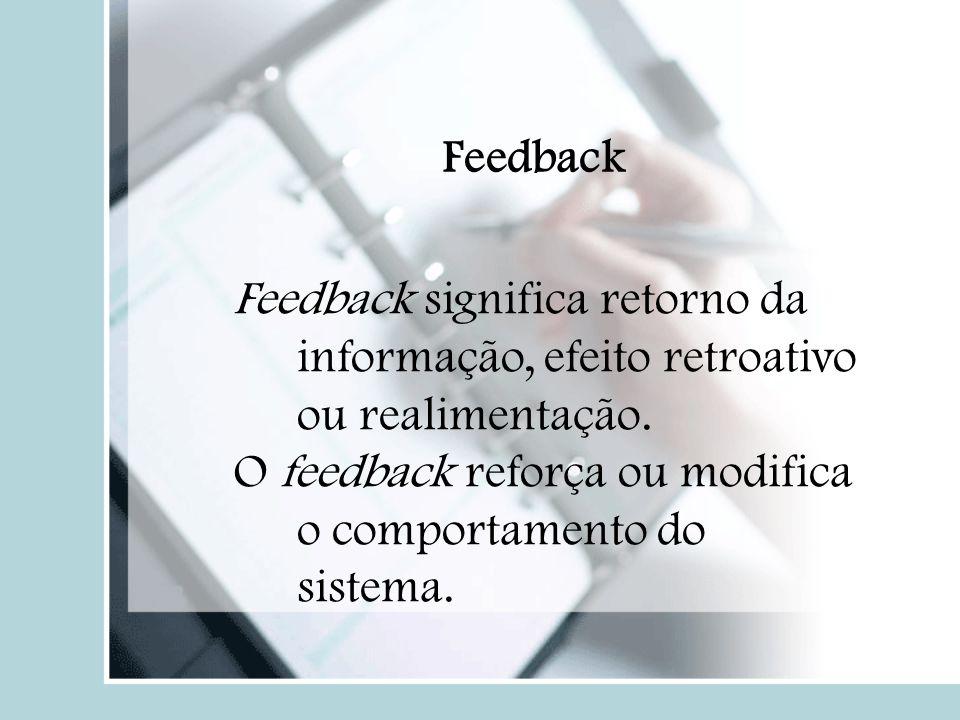 Feedback Feedback significa retorno da informação, efeito retroativo ou realimentação. O feedback reforça ou modifica o comportamento do sistema.