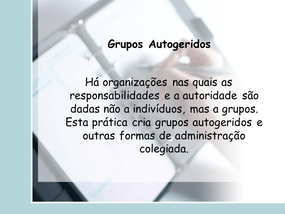 Grupos Autogeridos Há organizações nas quais as responsabilidades e a autoridade são dadas não a indivíduos, mas a grupos. Esta prática cria grupos au