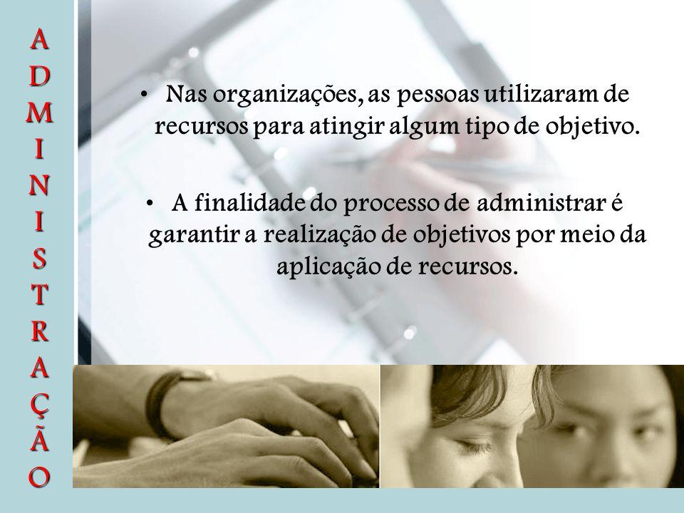 Nas organizações, as pessoas utilizaram de recursos para atingir algum tipo de objetivo. A finalidade do processo de administrar é garantir a realizaç