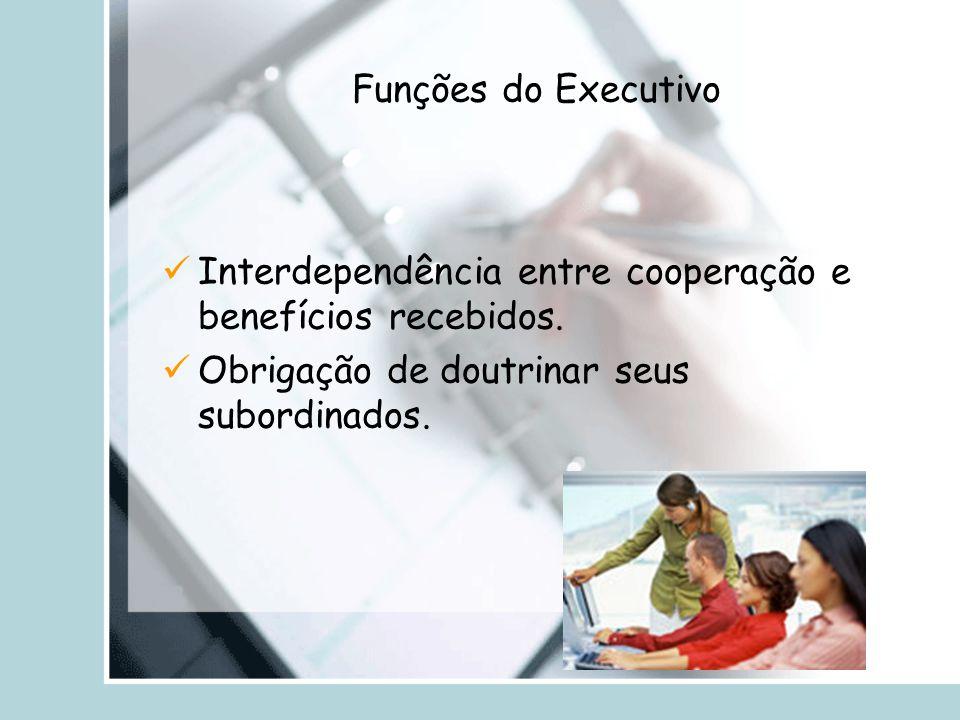 Funções do Executivo Interdependência entre cooperação e benefícios recebidos. Obrigação de doutrinar seus subordinados.