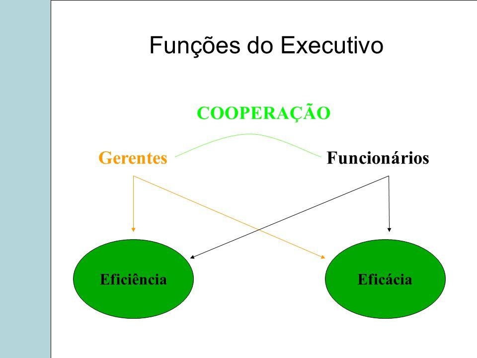 COOPERAÇÃO Gerentes Funcionários EficiênciaEficácia Funções do Executivo