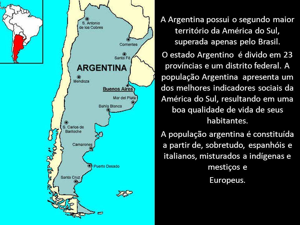 A Argentina possui o segundo maior território da América do Sul, superada apenas pelo Brasil.