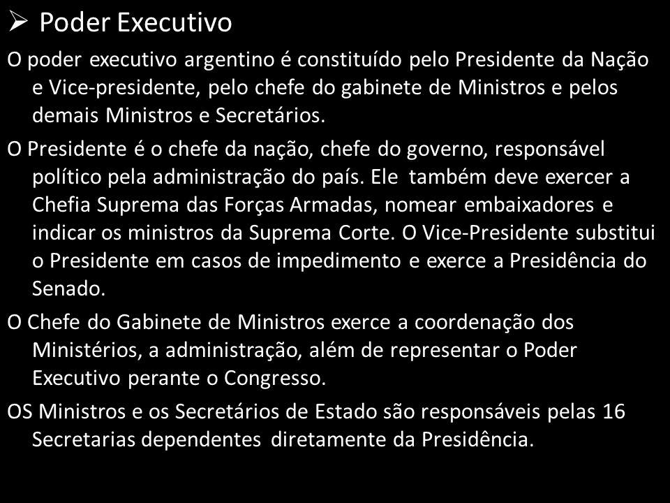  Poder Executivo O poder executivo argentino é constituído pelo Presidente da Nação e Vice-presidente, pelo chefe do gabinete de Ministros e pelos demais Ministros e Secretários.