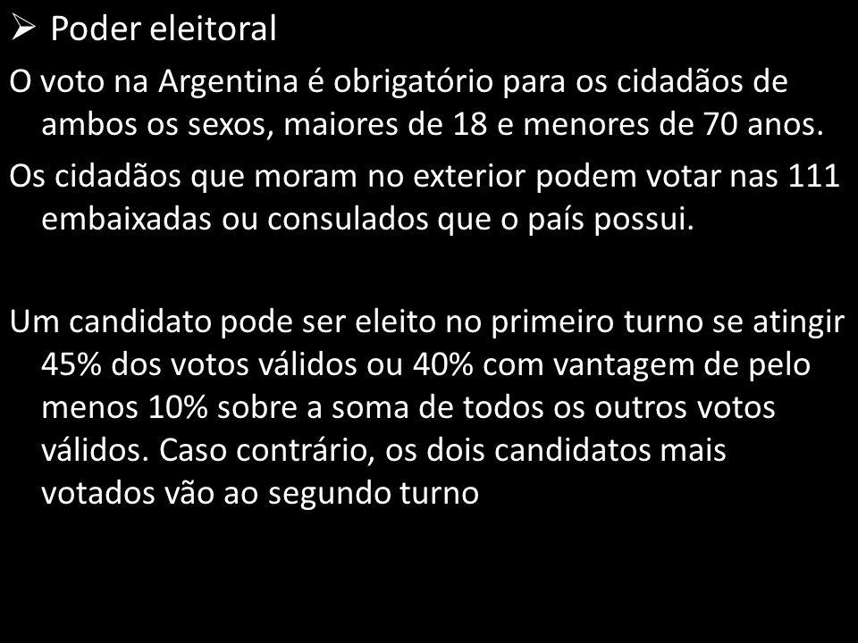  Poder eleitoral O voto na Argentina é obrigatório para os cidadãos de ambos os sexos, maiores de 18 e menores de 70 anos.