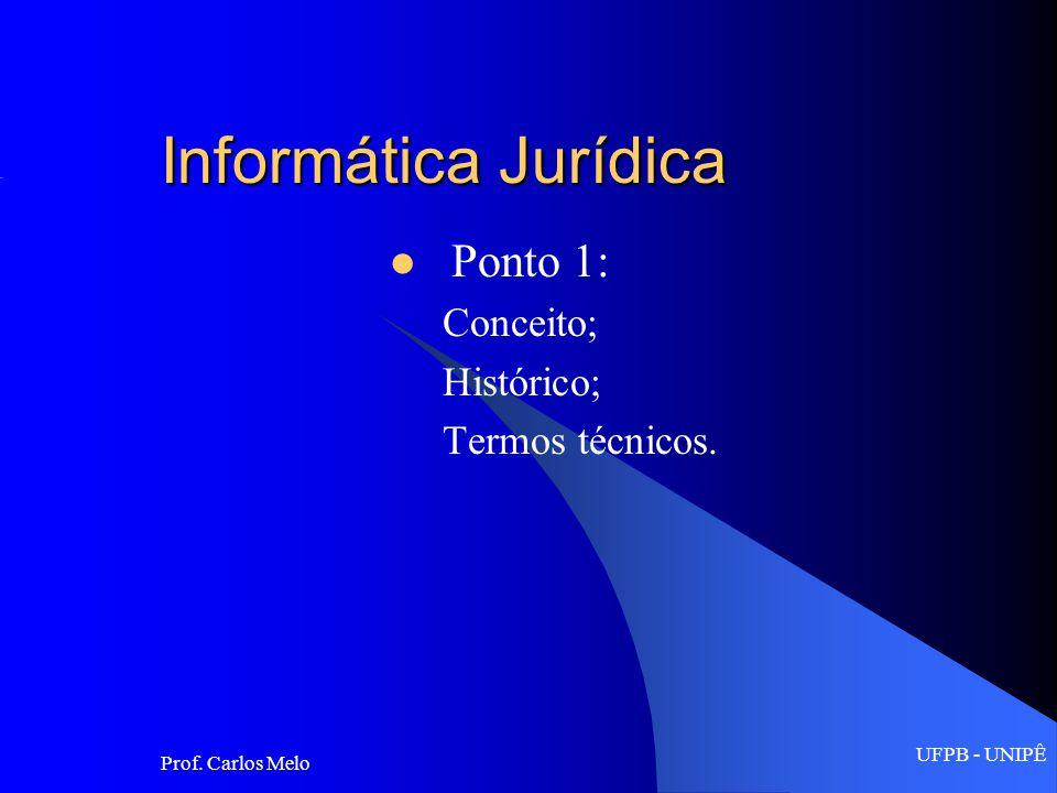 UFPB - UNIPÊ Prof.Carlos Melo Aplicações do Direito de Informática: 1.
