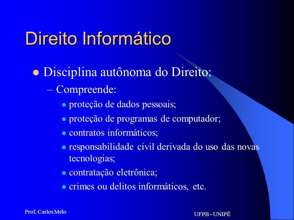 UFPB - UNIPÊ Prof. Carlos Melo Direito Informático Disciplina autônoma do Direito: –Possui objeto delimitado: Objeto mediato: a informação Objeto imed