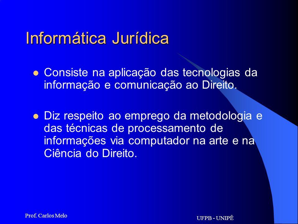 UFPB - UNIPÊ Prof. Carlos Melo Direito Informático Disciplina autônoma do Direito: –Compreende: proteção de dados pessoais; proteção de programas de c