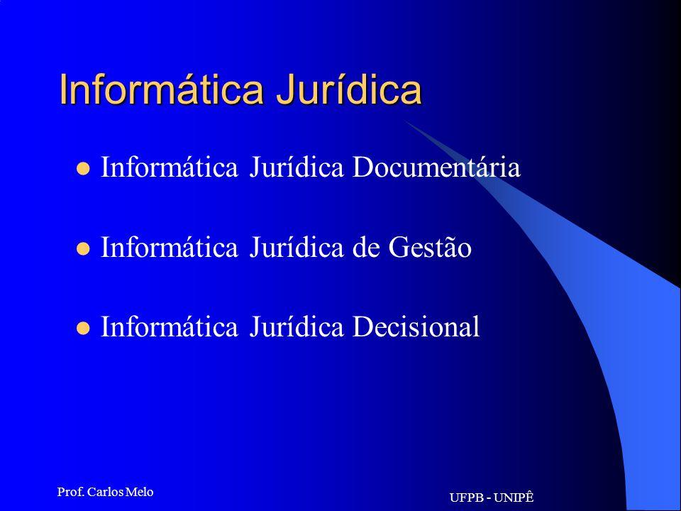 UFPB - UNIPÊ Prof. Carlos Melo Informática Jurídica Consiste na aplicação das tecnologias da informação e comunicação ao Direito. Diz respeito ao empr