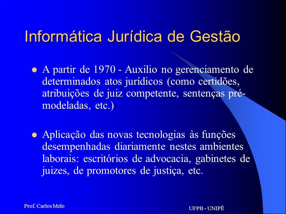 UFPB - UNIPÊ Prof. Carlos Melo Informática Jurídica Documentária Inicialmente (1960), a Informática Jurídica foi substancialmente informática document