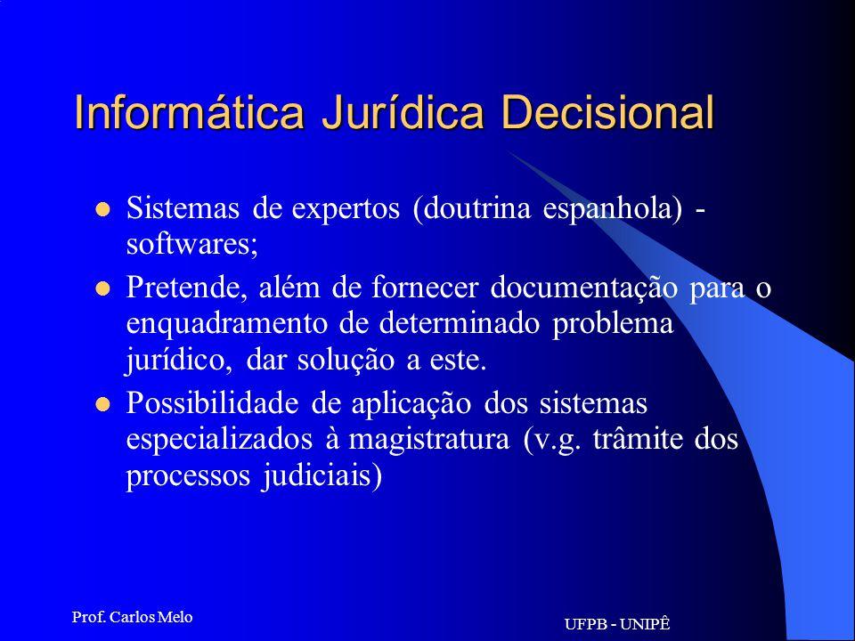 UFPB - UNIPÊ Prof. Carlos Melo Informática Jurídica Decisional. A partir de 1980 - Forma de organização de informações partindo-se de suas exatidões e