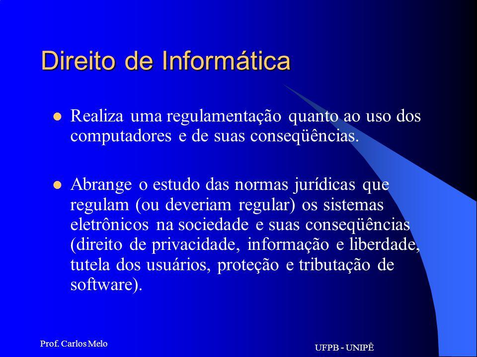 UFPB - UNIPÊ Prof. Carlos Melo Informática Jurídica Decisional Sistemas de expertos (doutrina espanhola) - softwares; Pretende, além de fornecer docum