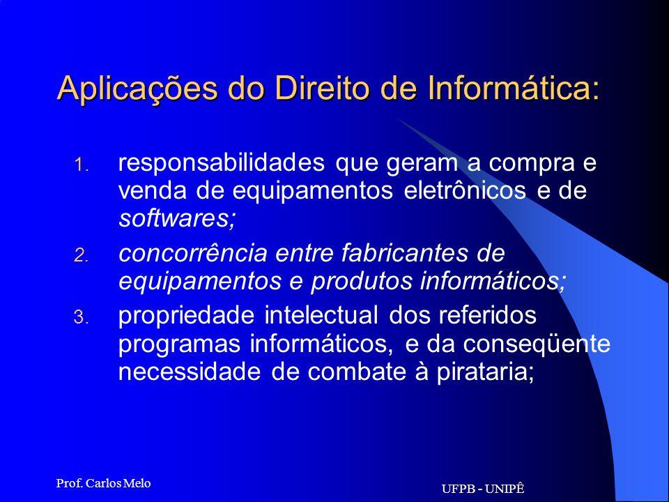 UFPB - UNIPÊ Prof. Carlos Melo Direito de Informática Realiza uma regulamentação quanto ao uso dos computadores e de suas conseqüências. Abrange o est