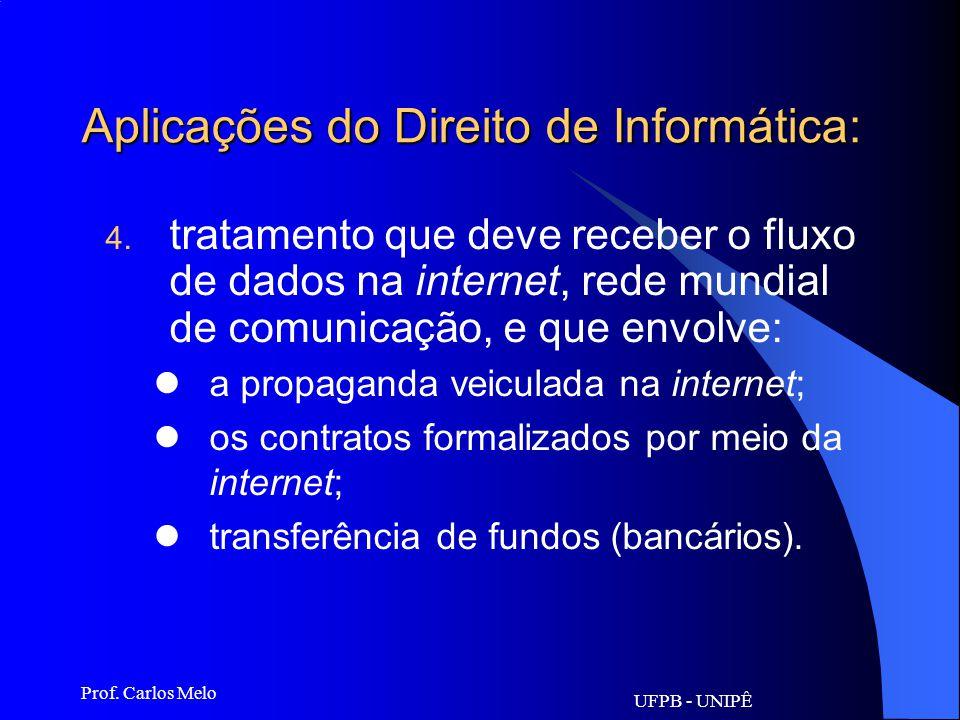 UFPB - UNIPÊ Prof. Carlos Melo Aplicações do Direito de Informática: 1. responsabilidades que geram a compra e venda de equipamentos eletrônicos e de
