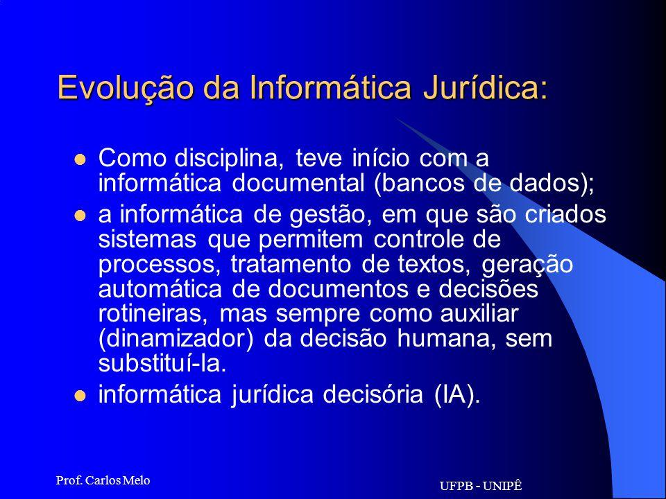 UFPB - UNIPÊ Prof. Carlos Melo Informática Jurídica: Não se confundindo com Direito de Informática, esta área é especial- mente relevante pelas transf