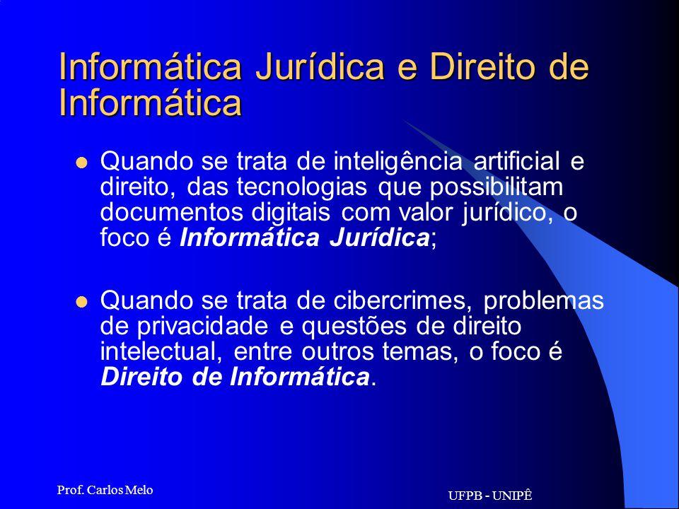 UFPB - UNIPÊ Prof. Carlos Melo Informática Jurídica e Direito de Informática Informática Jurídica é fundamental que se conheça ou tenha noções mínimas