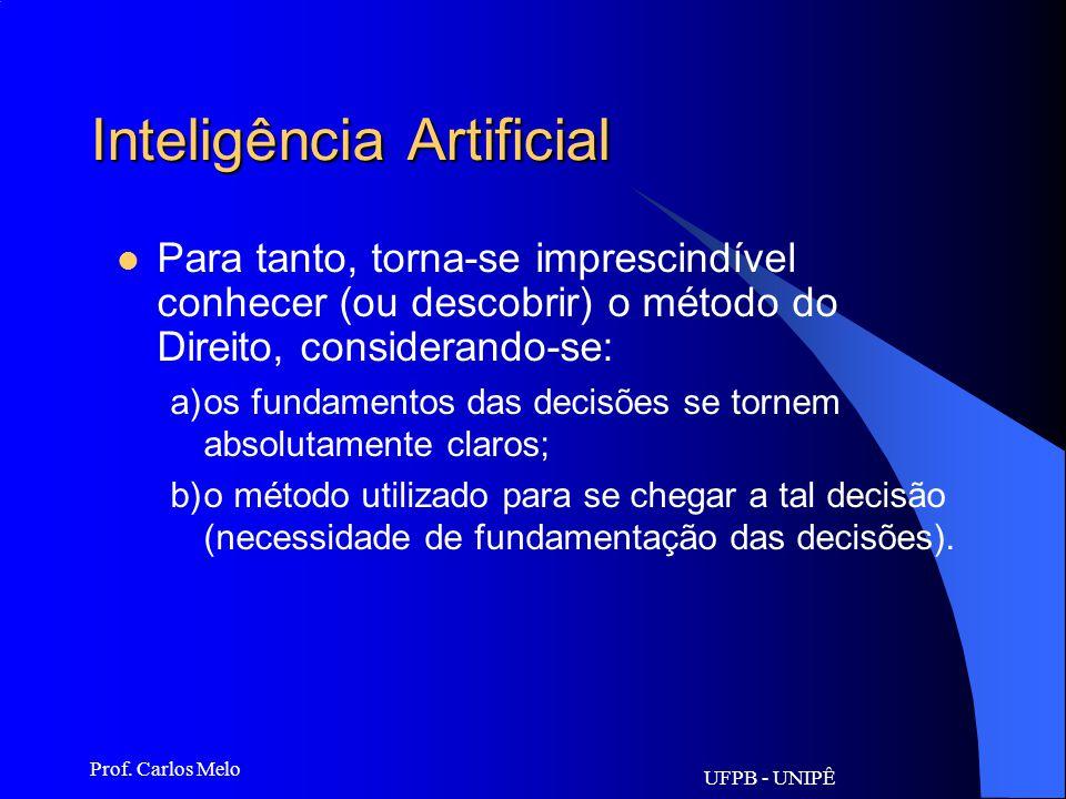 UFPB - UNIPÊ Prof. Carlos Melo Inteligência Artificial: É o produto final da aplicação da Informática Jurídica. Sistemas capazes de oferecerem, além d