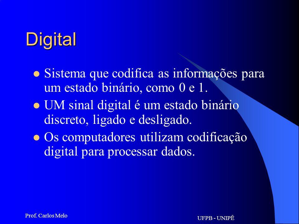 UFPB - UNIPÊ Prof. Carlos Melo Outros conceitos: Diversos termos técnicos são utilizados na Informática. Veremos, em seguida, o significado de alguns