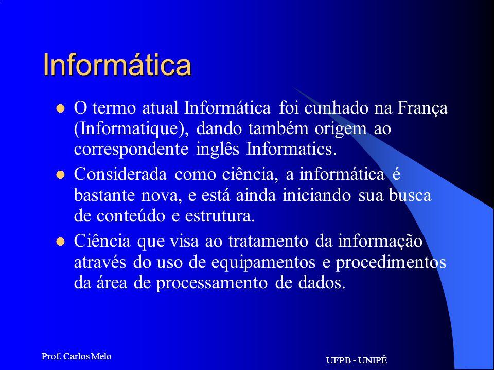 UFPB - UNIPÊ Prof. Carlos Melo Informática O termo pioneiro em inglês foi information science, criado para designar o campo interdisciplinar relaciona
