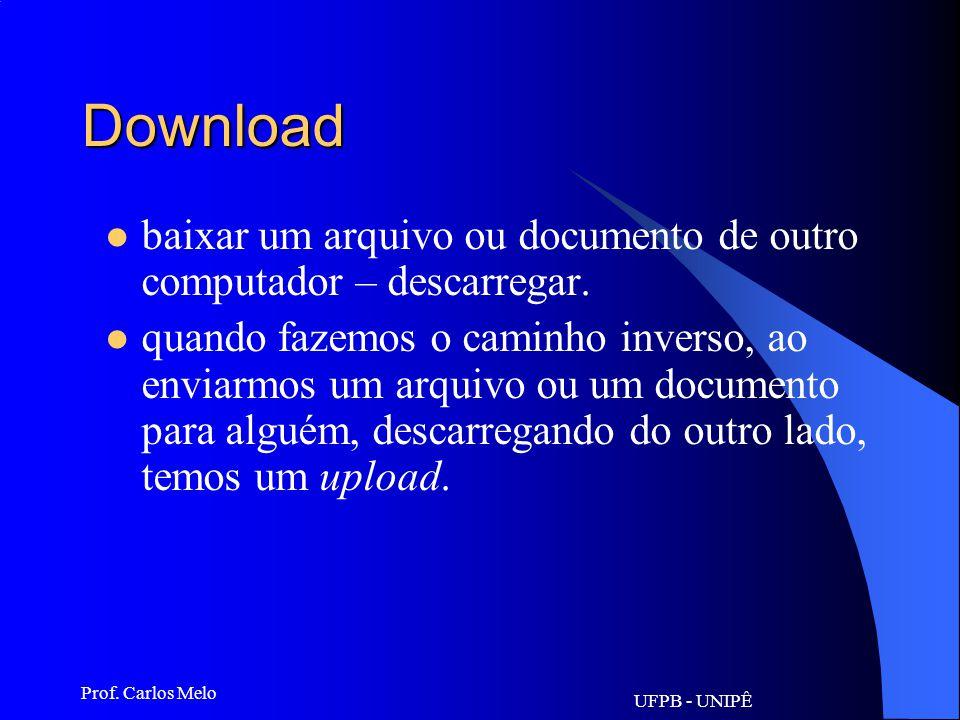 UFPB - UNIPÊ Prof. Carlos Melo Ciberespaço Espaço onde ocorre a comunicação entre máquinas. Ambiente digital, formado por redes de computadores.