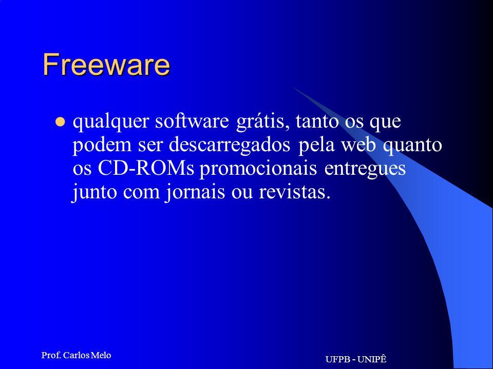 UFPB - UNIPÊ Prof. Carlos Melo Firewall sistema de segurança. programa implantado em sistemas que filtra os visitantes e barra aqueles que não preench