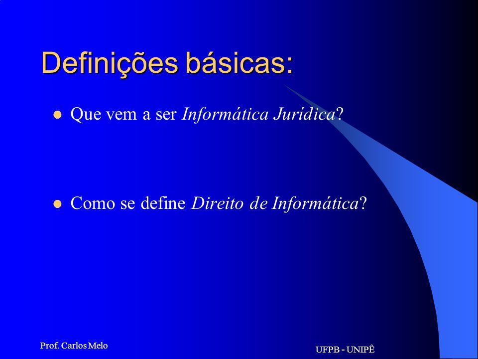 UFPB - UNIPÊ Prof.Carlos Melo Definições básicas: Que vem a ser Informática Jurídica.