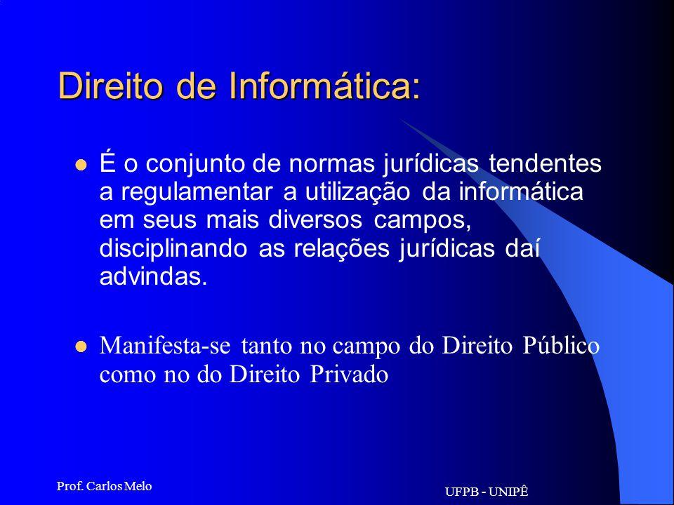 UFPB - UNIPÊ Prof. Carlos Melo Informática Jurídica: Pode-se afirmar que a Informática Jurídica é a parte da ciência jurídica que estuda as possibilid