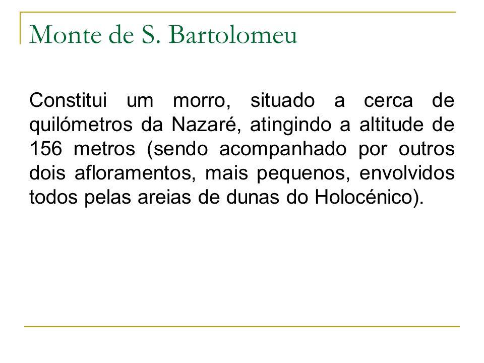 Monte de S. Bartolomeu Constitui um morro, situado a cerca de quilómetros da Nazaré, atingindo a altitude de 156 metros (sendo acompanhado por outros