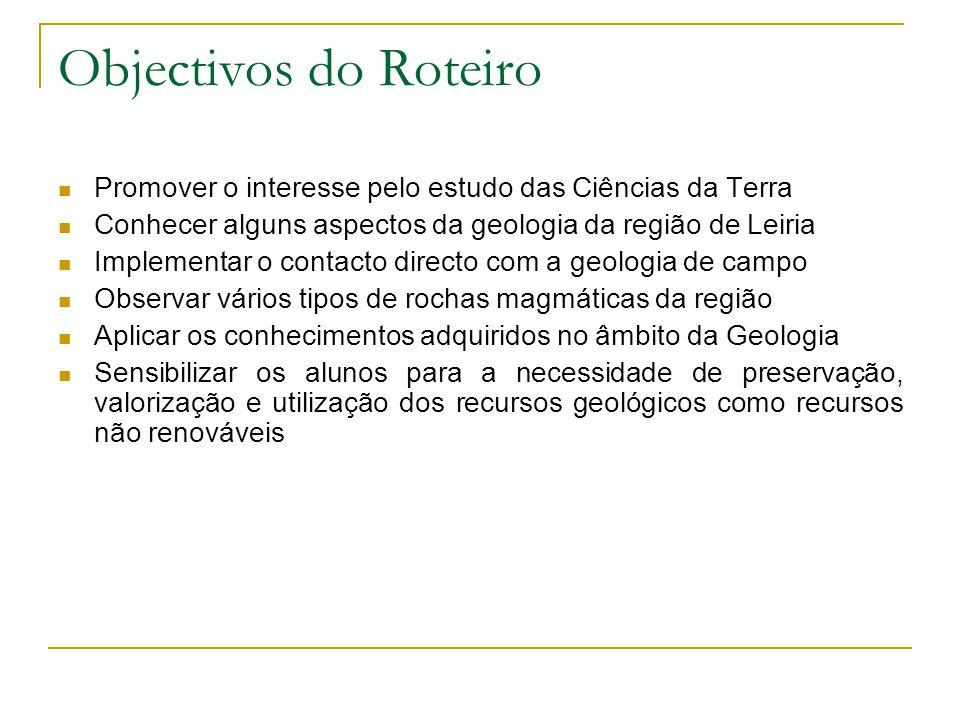 Objectivos do Roteiro Promover o interesse pelo estudo das Ciências da Terra Conhecer alguns aspectos da geologia da região de Leiria Implementar o co