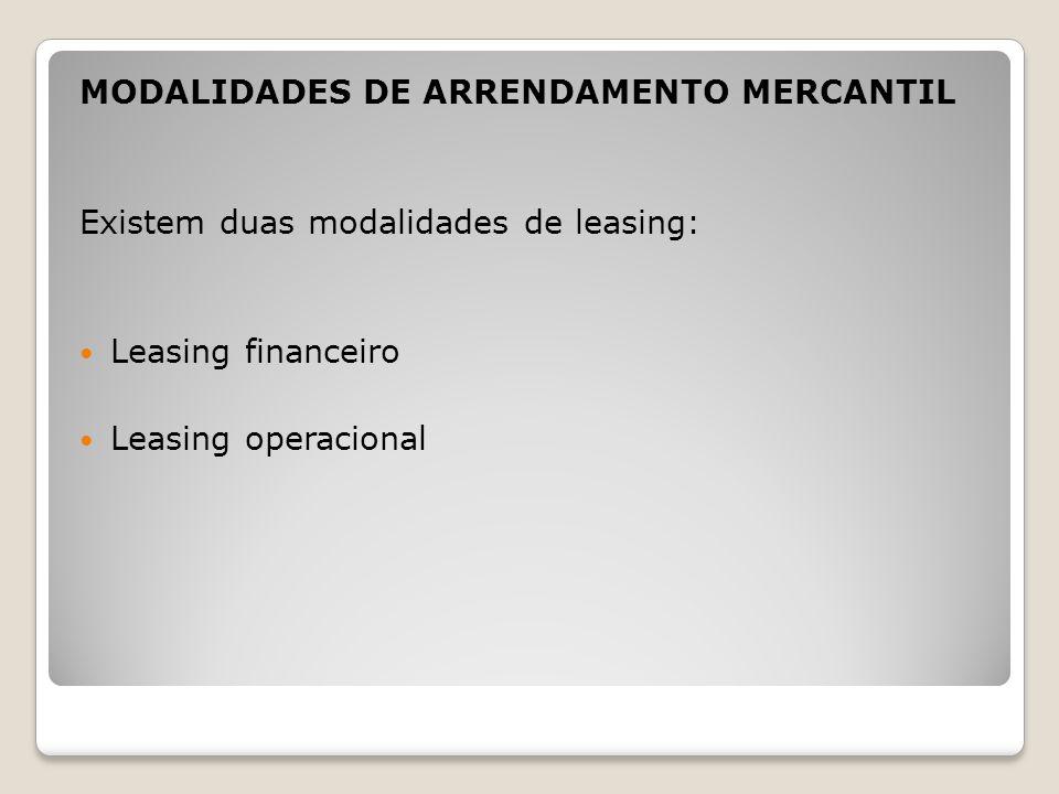 MODALIDADES DE ARRENDAMENTO MERCANTIL Existem duas modalidades de leasing: Leasing financeiro Leasing operacional