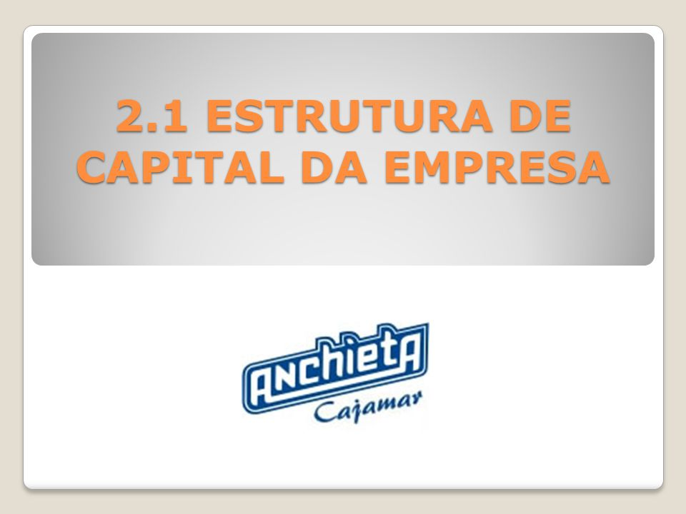 2.1 ESTRUTURA DE CAPITAL DA EMPRESA