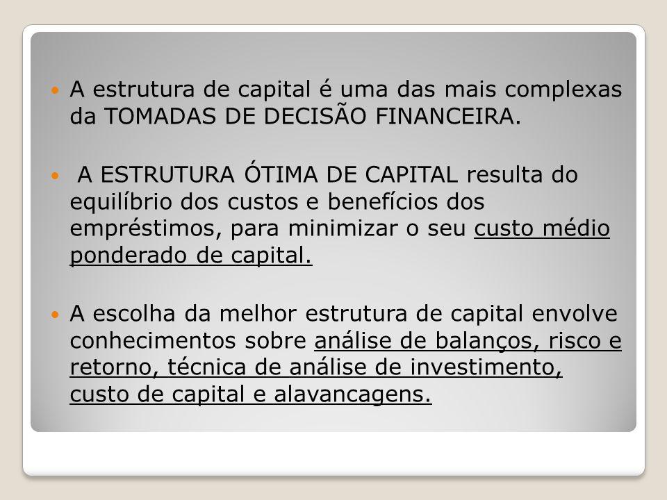 A estrutura de capital é uma das mais complexas da TOMADAS DE DECISÃO FINANCEIRA. A ESTRUTURA ÓTIMA DE CAPITAL resulta do equilíbrio dos custos e bene