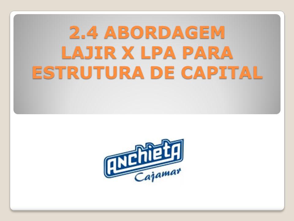 2.4 ABORDAGEM LAJIR X LPA PARA ESTRUTURA DE CAPITAL
