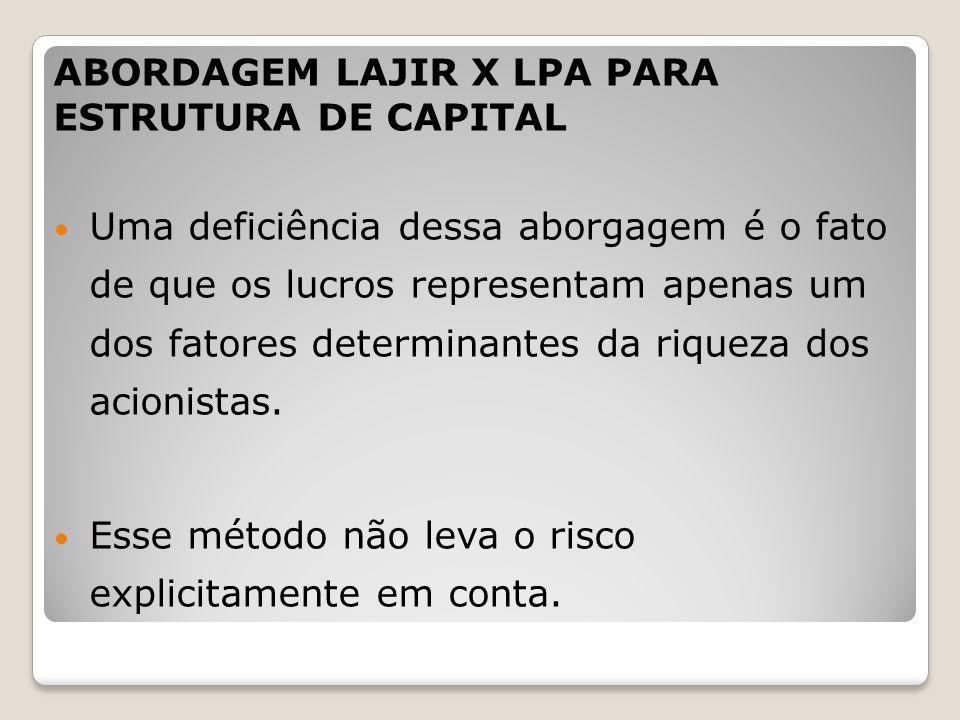 ABORDAGEM LAJIR X LPA PARA ESTRUTURA DE CAPITAL Uma deficiência dessa aborgagem é o fato de que os lucros representam apenas um dos fatores determinan