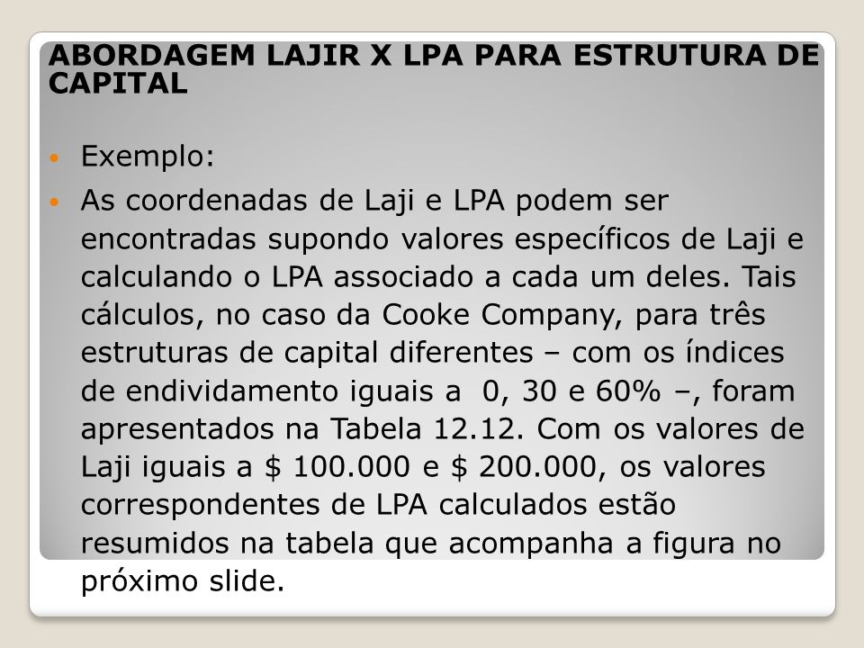 ABORDAGEM LAJIR X LPA PARA ESTRUTURA DE CAPITAL Exemplo: As coordenadas de Laji e LPA podem ser encontradas supondo valores específicos de Laji e calc