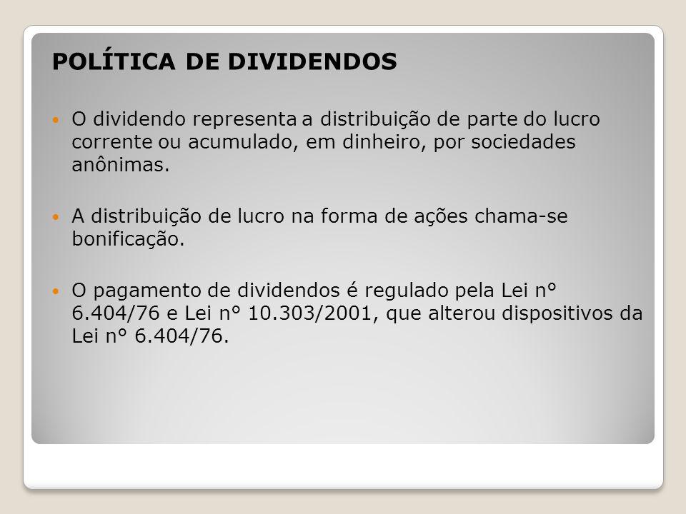 POLÍTICA DE DIVIDENDOS O dividendo representa a distribuição de parte do lucro corrente ou acumulado, em dinheiro, por sociedades anônimas. A distribu
