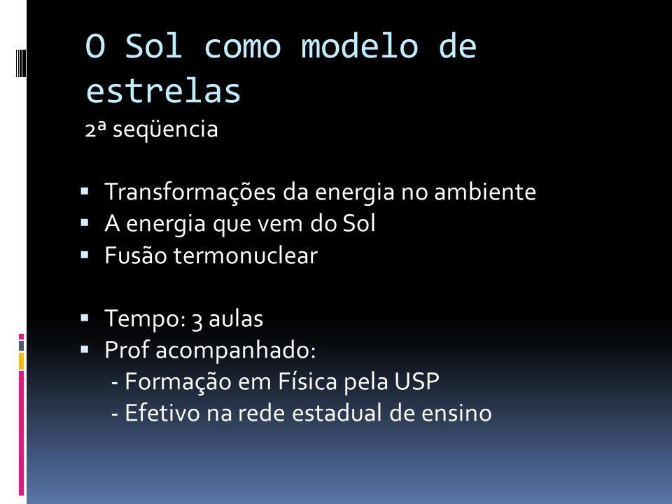 2ª seqüencia  Transformações da energia no ambiente  A energia que vem do Sol  Fusão termonuclear  Tempo: 3 aulas  Prof acompanhado: - Formação e