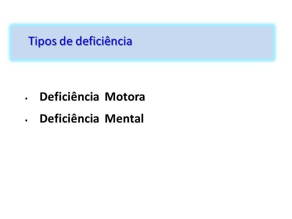  Deficiência Motora  Deficiência Mental Tipos de deficiência
