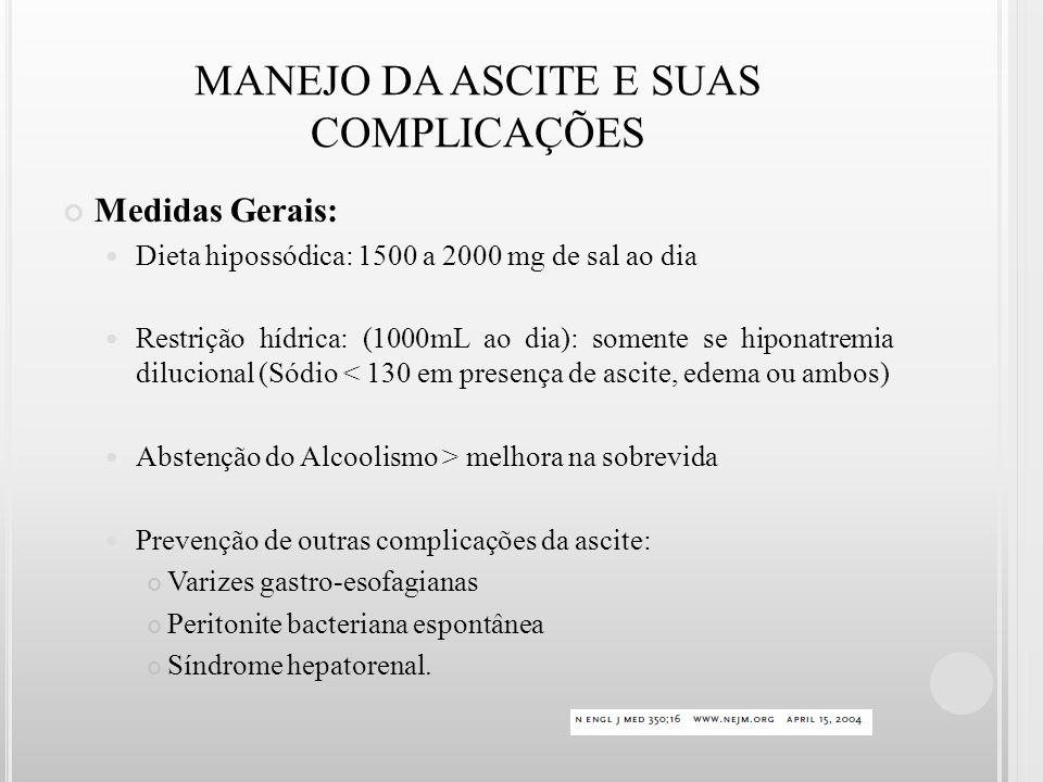 MANEJO DA ASCITE E SUAS COMPLICAÇÕES Medidas Gerais: Dieta hipossódica: 1500 a 2000 mg de sal ao dia Restrição hídrica: (1000mL ao dia): somente se hi