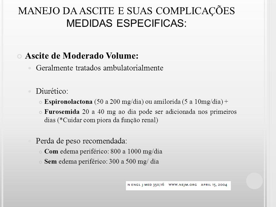 MANEJO DA ASCITE E SUAS COMPLICAÇÕES MEDIDAS ESPECIFICAS: Ascite de Moderado Volume: Geralmente tratados ambulatorialmente Diurético: Espironolactona