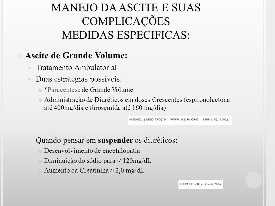MANEJO DA ASCITE E SUAS COMPLICAÇÕES MEDIDAS ESPECIFICAS: Ascite de Grande Volume: Tratamento Ambulatorial Duas estratégias possíveis: *Paracentese de
