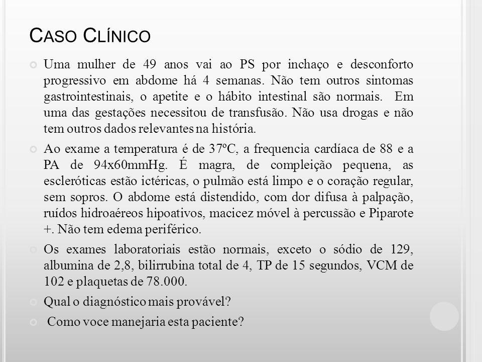 C IRROSE H EPÁTICA Principais causas: Hepatites virais e Alcoolismo 12° causa de morte nos EUA em 2000 Ascite é sua principal complicação Sobrevida após ascite = 30-40% em 5 anos