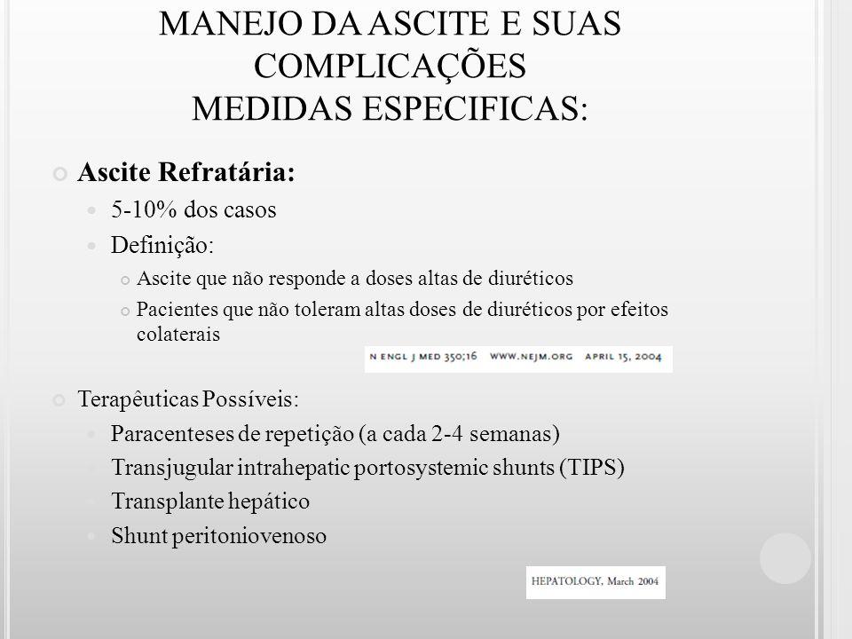 MANEJO DA ASCITE E SUAS COMPLICAÇÕES MEDIDAS ESPECIFICAS: Ascite Refratária: 5-10% dos casos Definição: Ascite que não responde a doses altas de diuré