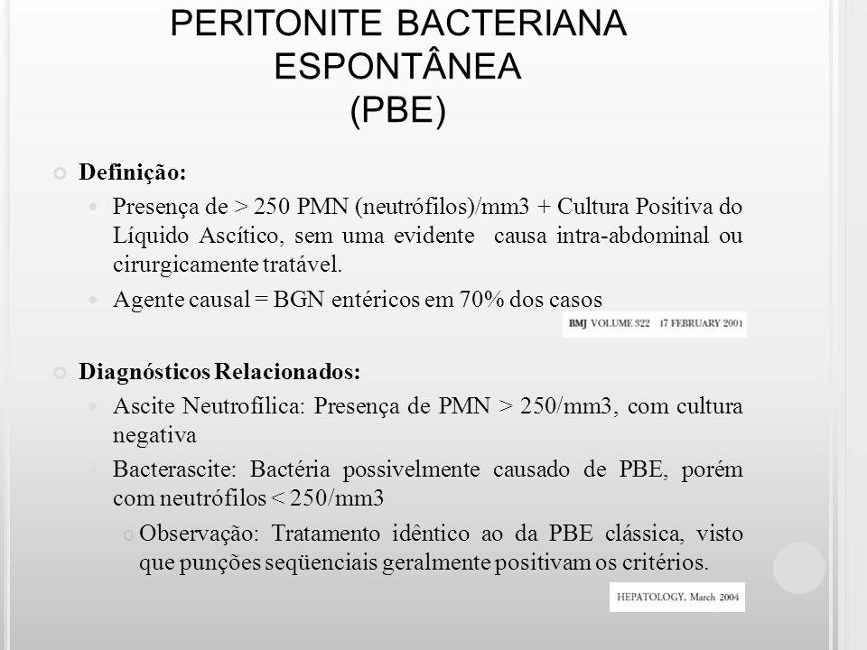 PERITONITE BACTERIANA ESPONTÂNEA (PBE) Definição: Presença de > 250 PMN (neutrófilos)/mm3 + Cultura Positiva do Líquido Ascítico, sem uma evidente cau