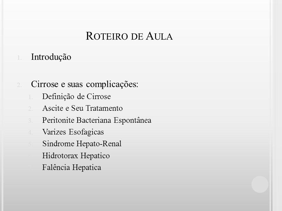 R OTEIRO DE A ULA 1. Introdução 2. Cirrose e suas complicações: 1. Definição de Cirrose 2. Ascite e Seu Tratamento 3. Peritonite Bacteriana Espontânea