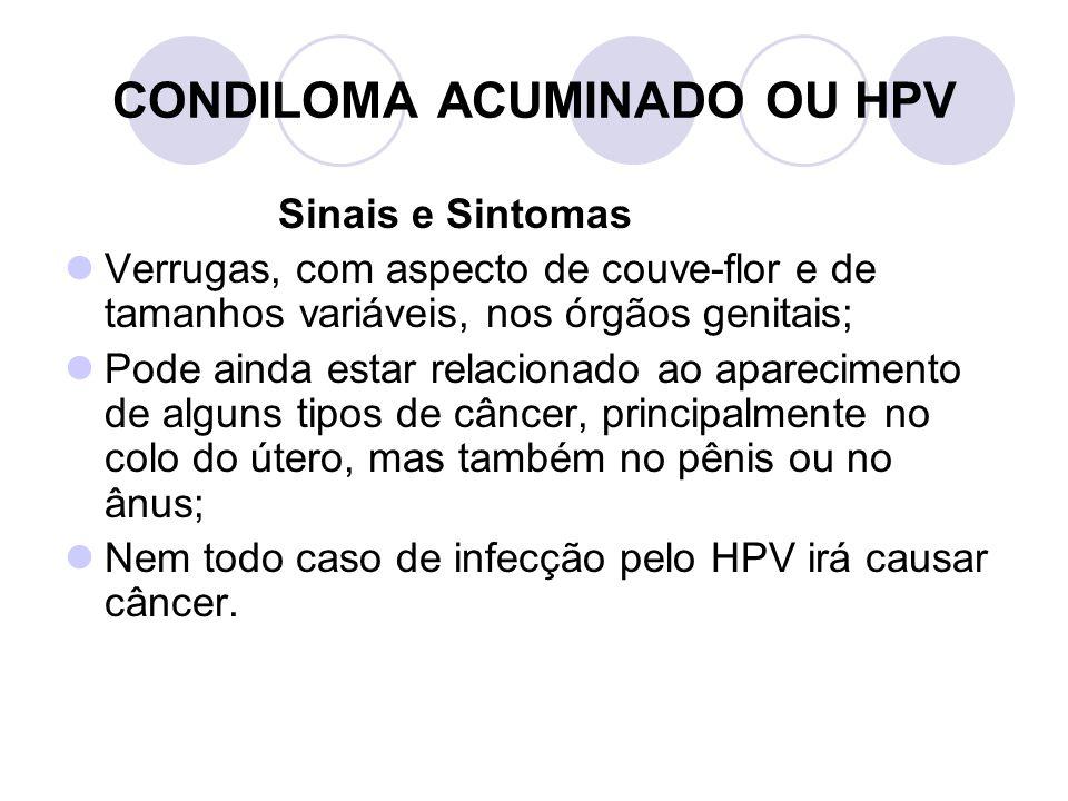 CONDILOMA ACUMINADO OU HPV Sinais e Sintomas Verrugas, com aspecto de couve-flor e de tamanhos variáveis, nos órgãos genitais; Pode ainda estar relaci