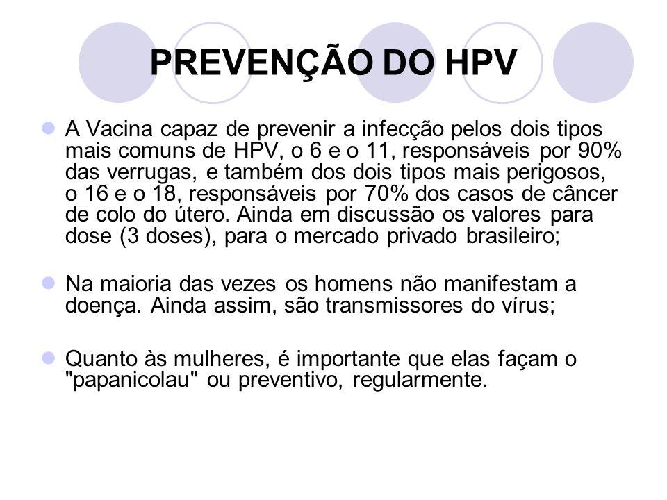 PREVENÇÃO DO HPV A Vacina capaz de prevenir a infecção pelos dois tipos mais comuns de HPV, o 6 e o 11, responsáveis por 90% das verrugas, e também do