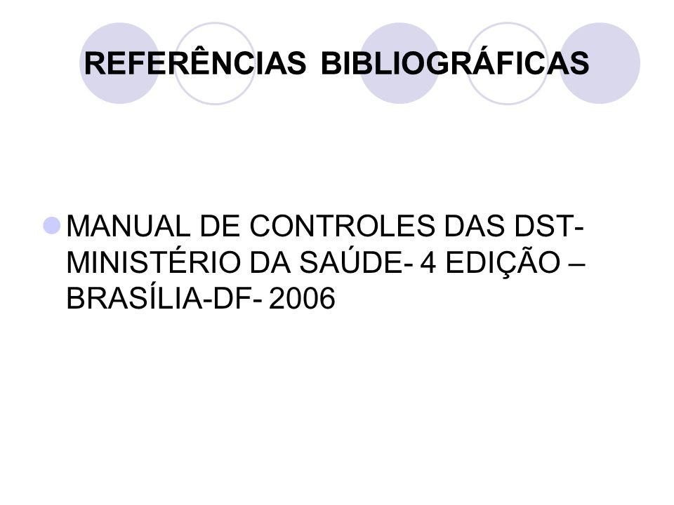REFERÊNCIAS BIBLIOGRÁFICAS MANUAL DE CONTROLES DAS DST- MINISTÉRIO DA SAÚDE- 4 EDIÇÃO – BRASÍLIA-DF- 2006