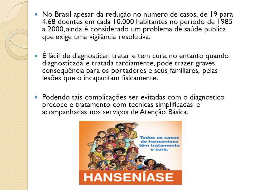 Epidemiologia A hanseníase apresenta tendência de estabilização dos coeficientes de detecção no Brasil, mas ainda em patamares muito altos nas regiões Norte, Centro-Oeste e Nordeste.